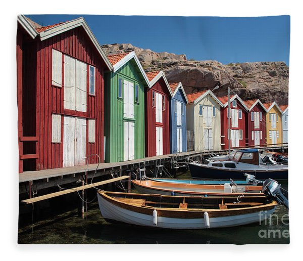 Swedish Fishing Village Fleece Blanket