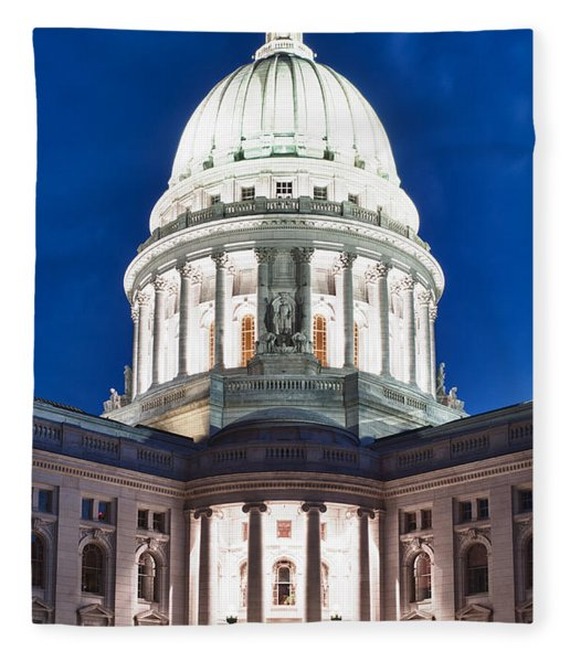 Wisconsin State Capitol Building At Night Fleece Blanket