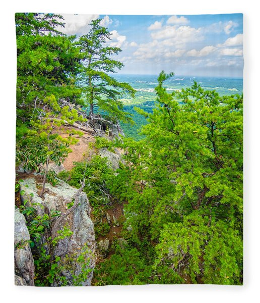 Fleece Blanket featuring the photograph Beautiful Aerial Landscape Views From Crowders Mountain North Ca by Alex Grichenko