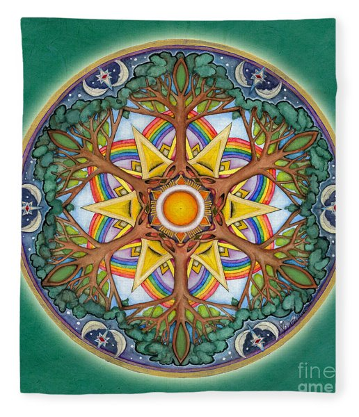 Heaven And Earth Mandala Fleece Blanket
