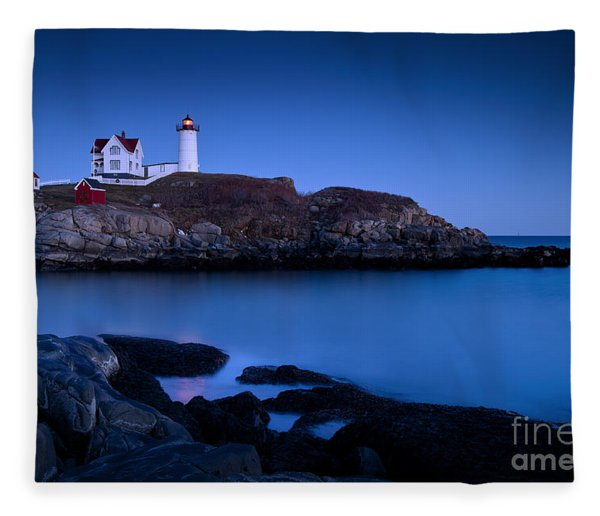 Fleece Blanket featuring the photograph Nubble Lighthouse by Brian Jannsen