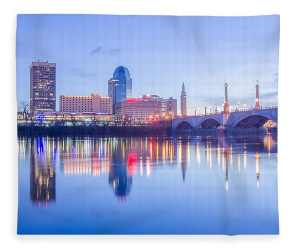 Fleece Blanket featuring the photograph Springfield Massachusetts City Skyline Early Morning by Alex Grichenko