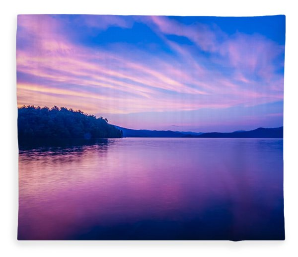Fleece Blanket featuring the photograph Sunset During Blue Hour At The Lake by Alex Grichenko