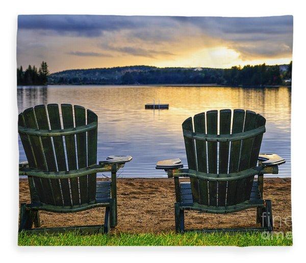 Wooden Chairs At Sunset On Beach Fleece Blanket