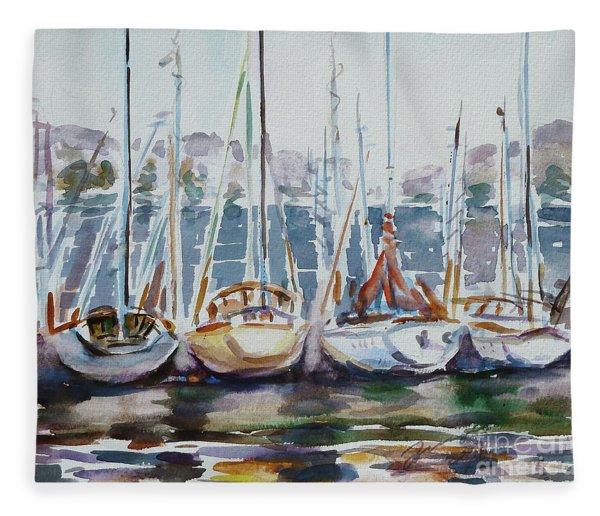 4 Boats Fleece Blanket
