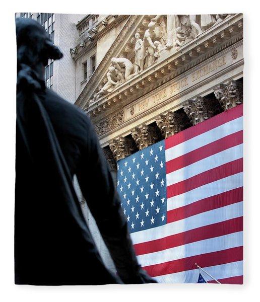 Fleece Blanket featuring the photograph Wall Street Flag by Brian Jannsen