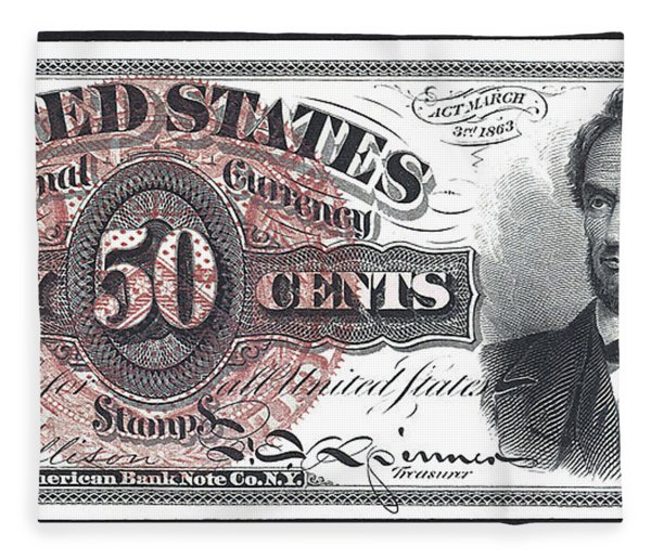 50 Cent Lincoln Bill  1863 Fleece Blanket