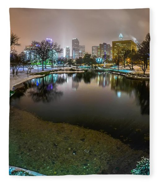 Fleece Blanket featuring the photograph Charlotte Nc Skyline Covered In Snow In January 2014 by Alex Grichenko