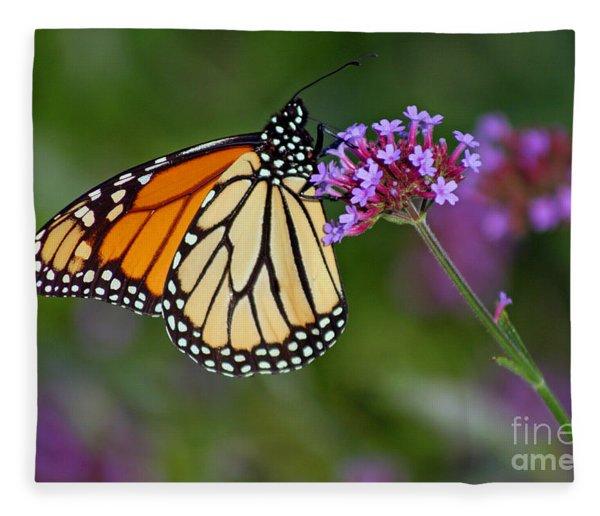 Monarch Butterfly In Garden Fleece Blanket