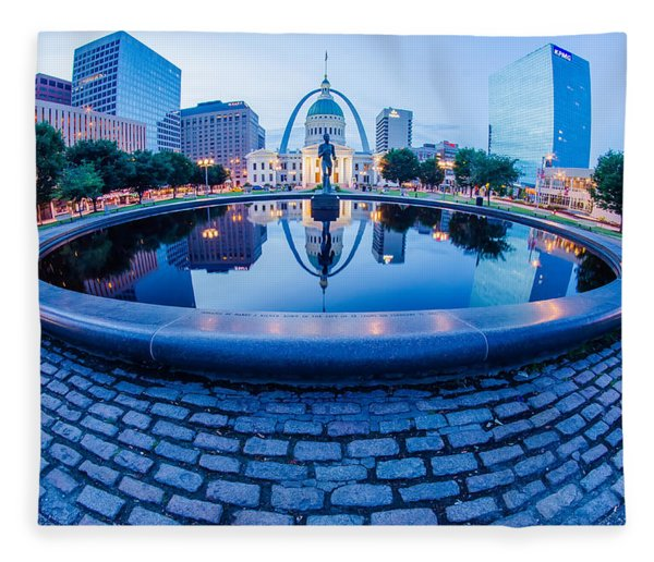 Fleece Blanket featuring the photograph St. Louis Downtown Skyline Buildings At Night by Alex Grichenko