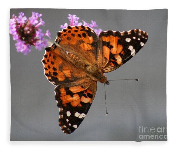 American Painted Lady Butterfly Fleece Blanket