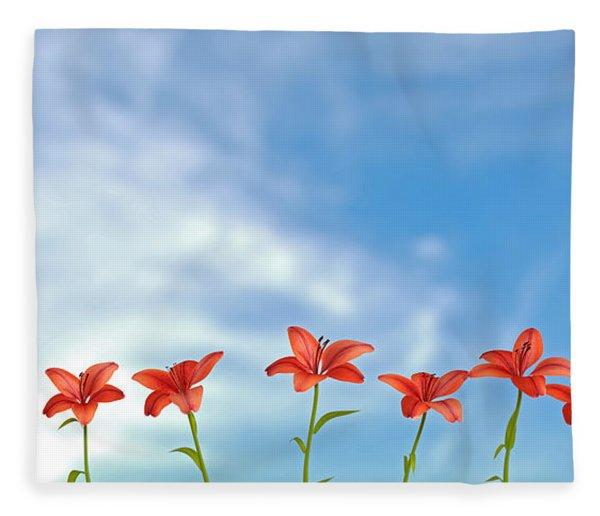 Fleece Blanket featuring the digital art 9 Lilies by Matt Lindley