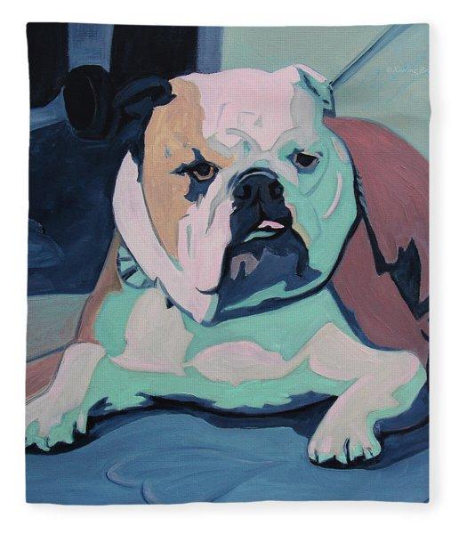 A Bulldog In Love Fleece Blanket