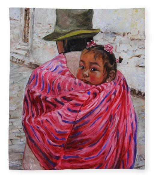 A Bundle Buggy Swaddle - Peru Impression IIi Fleece Blanket