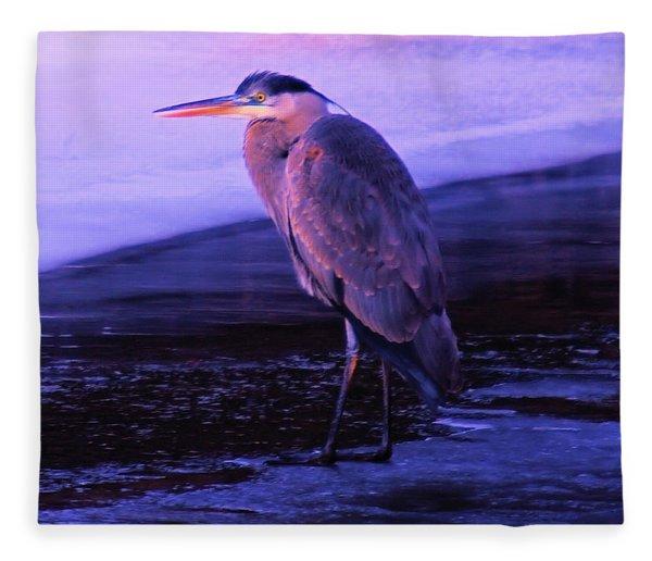 A Heron On The Moyie River Fleece Blanket