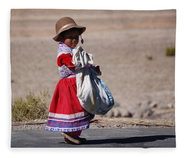 A Little Girl In The  High Plain Fleece Blanket