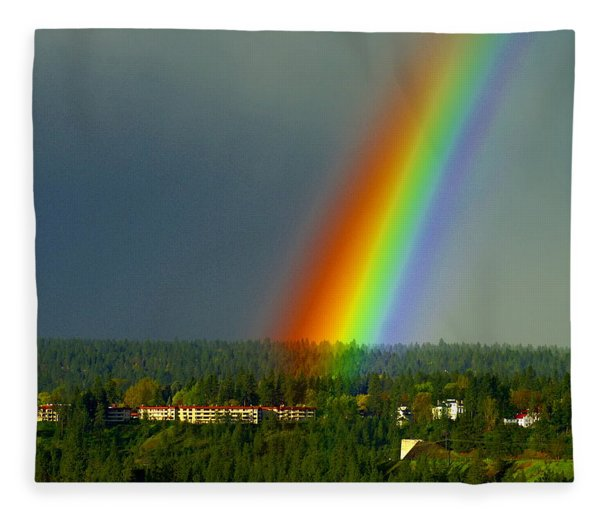 A Rainbow Blessing Spokane Fleece Blanket