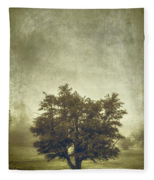 A Tree In The Fog 2 Fleece Blanket