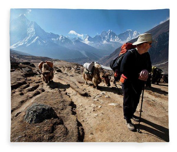 A Trekker In Nepal Looks Fleece Blanket