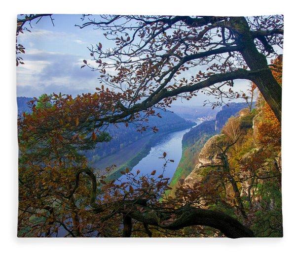 A Window To The Elbe In The Saxon Switzerland Fleece Blanket