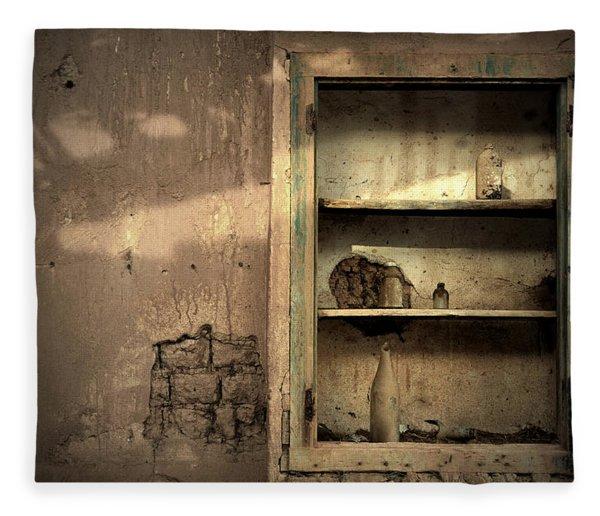 Abandoned Kitchen Cabinet Fleece Blanket