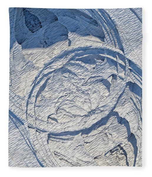Fleece Blanket featuring the digital art Abstract With Blue Shadows by Matt Lindley