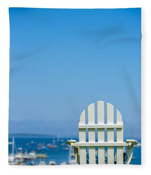 Adirondack Chair By The Sea Fleece Blanket