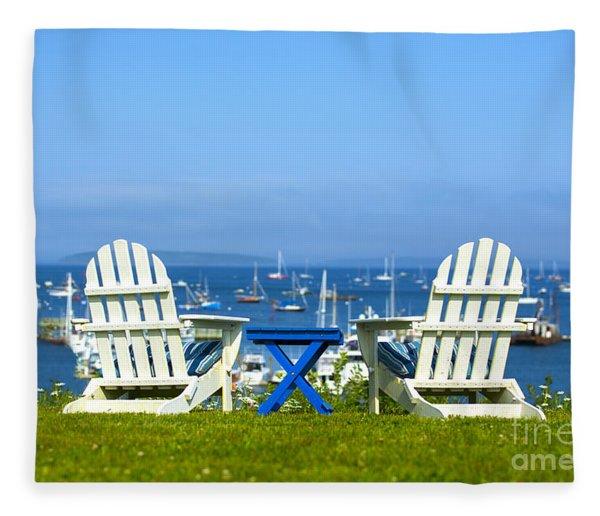 Adirondack Chairs Overlooking The Ocean Fleece Blanket