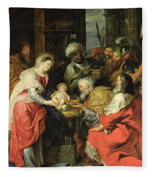 Adoration Of The Magi, 1626-29 Oil Canvas Fleece Blanket