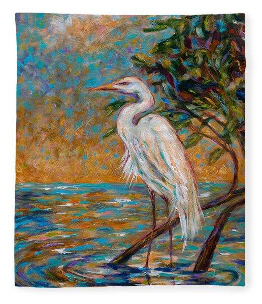 Afternoon Egret Fleece Blanket
