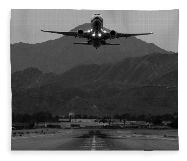 Alaska Airlines Palm Springs Takeoff Fleece Blanket