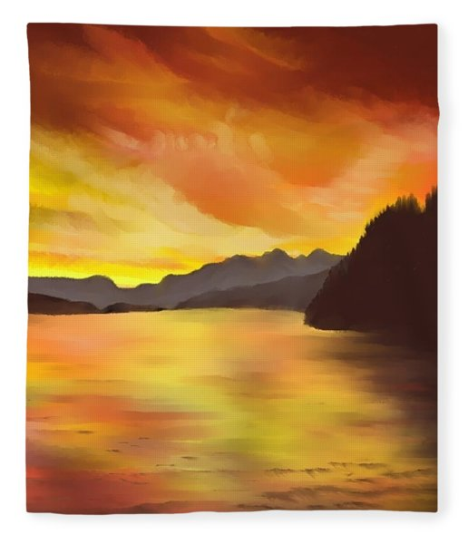Alaska Sunset Fleece Blanket