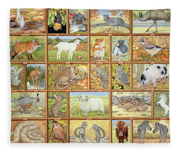 Alphabetical Animals Fleece Blanket