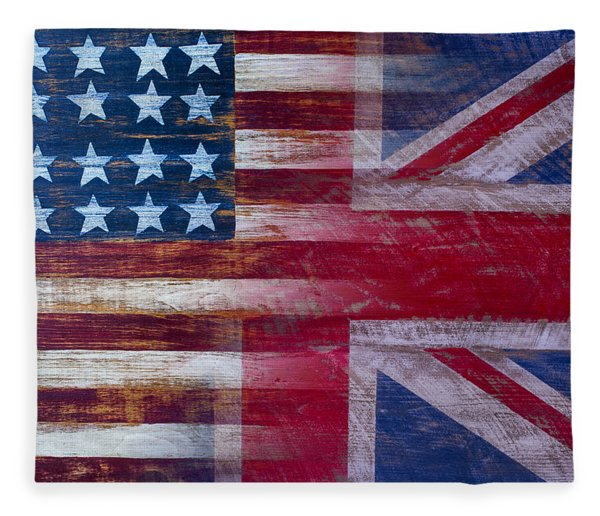 American British Flag 2 Fleece Blanket