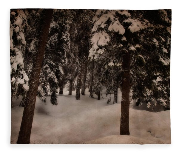 Antique Woodscape Fleece Blanket