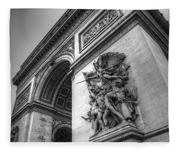 Arc De Triomphe In Black And White Fleece Blanket