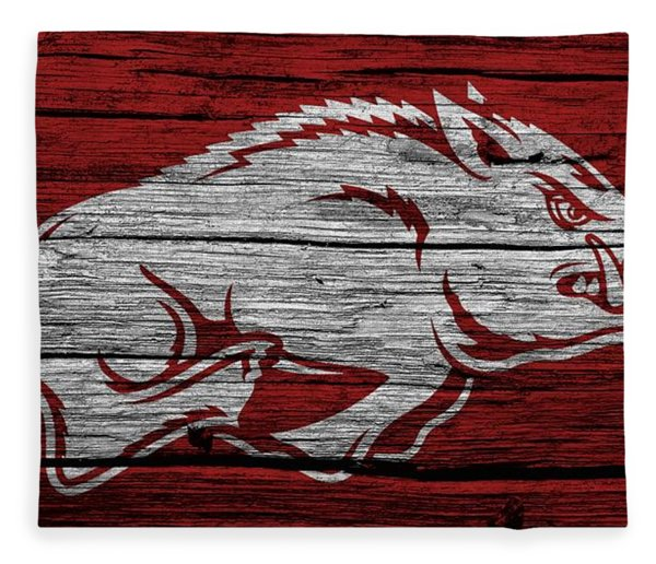 Arkansas Razorbacks On Wood Fleece Blanket