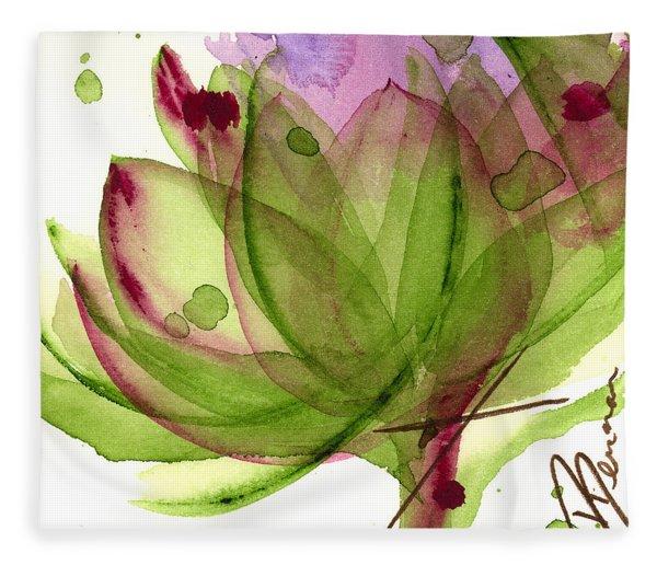 Artichoke Flower Fleece Blanket