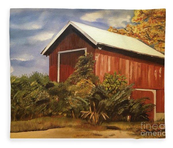 Autumn - Barn - Ohio Fleece Blanket