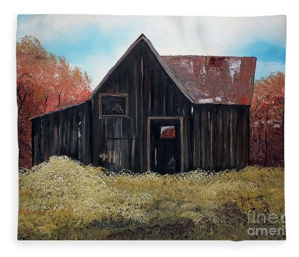 Autumn - Barn -orange Fleece Blanket