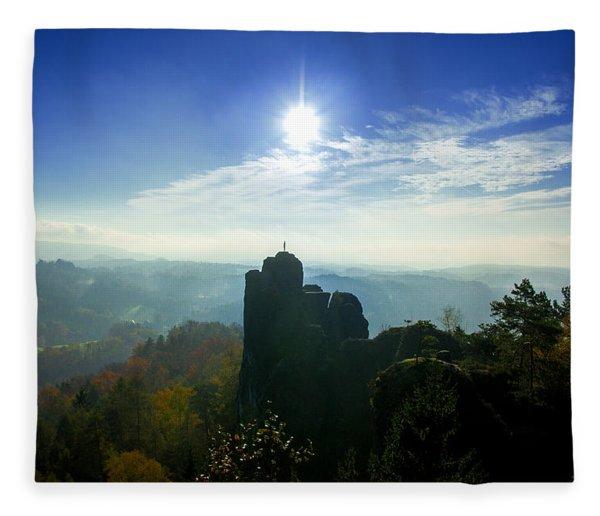 Autumn Sunrise In The Elbe Sandstone Mountains Fleece Blanket