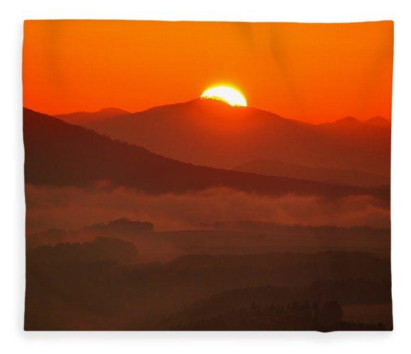 Autumn Sunrise On The Lilienstein Fleece Blanket