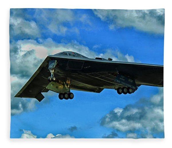 B-2 Spirit Coming In For A Landing Fleece Blanket