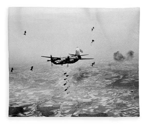B-26 Martin Marauder Aircraft Dropping Fleece Blanket