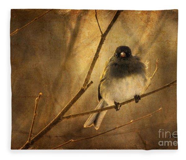 Backlit Birdie Being Buffeted  Fleece Blanket