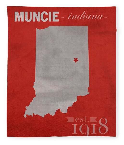 Ball State University Cardinals Muncie Indiana College Town State Map Poster Series No 017 Fleece Blanket