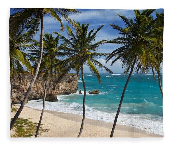 Fleece Blanket featuring the photograph Barbados Beach by Brian Jannsen