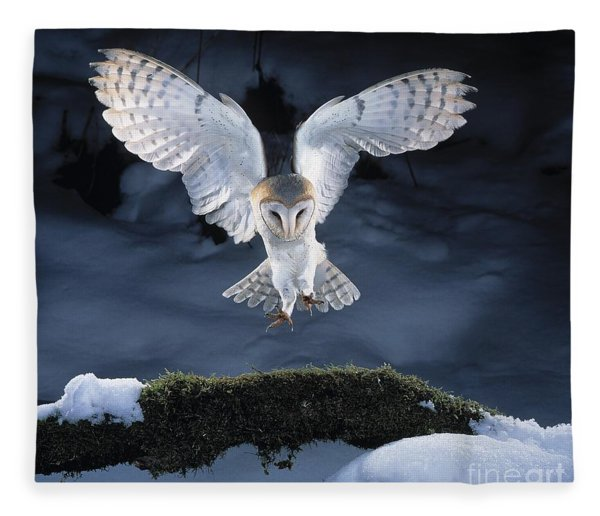 Barn Owl Landing Fleece Blanket
