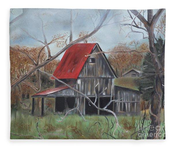 Barn - Red Roof - Autumn Fleece Blanket