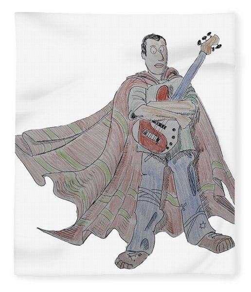 Bass Guitarist Cartoon Fleece Blanket